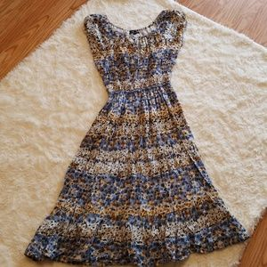 Vintage Floral Boho Hippie Midi Dress